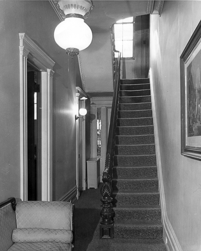 The staircase where Phebe Tredwell may have fallen to her death. The rowhouse of the time made no accommodation for the elderly and disabled.