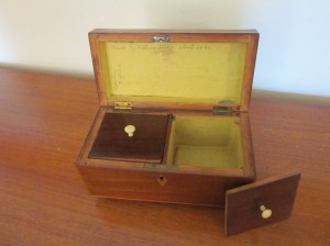 Two-compartment tea caddy, made in 1840 by Uncle Joe.