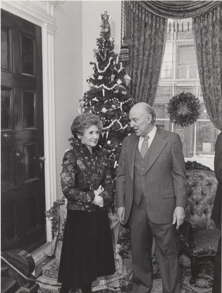 Ada Lpuise Huxtable and Joseph Roberto at a joint benefit for the Old Merchants House and the International Human Assistance Program, December 1980. Photo by Marilee Reiner
