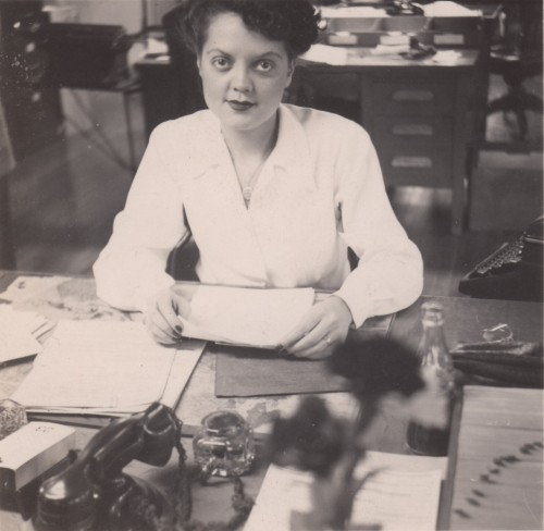 Florence Leffel at her desk in the Command and General Staff College, 1944