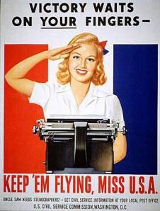 Typists and stenographers played a crucial part in wartime.