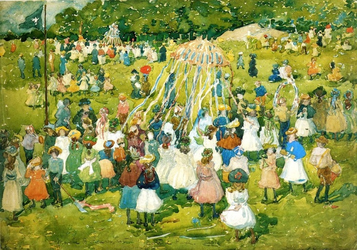 1901 —May Day in Central Park, Maurice Prendergast.American artist 1858-1924