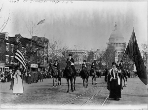 In 1913, women marched on the eve of Wilson's inauguration in support of women's suffrage.