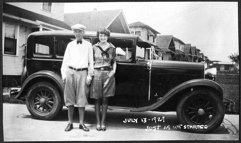 "My parents, Herbert and Mary Ellen Knapp, standing in front of their ""Tin Lizzy,"" 1929."