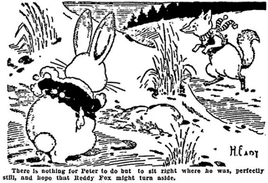"Illustration for ""Peter Looks for a Way to Escape,"" which appeared in newspapers of February 18, 1920."
